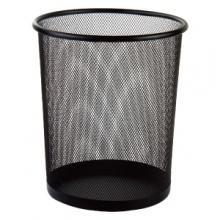 VWIN真人9188圆形纸篓(黑)加厚垃圾桶收纳桶防绣铁丝网家用办公废纸篓垃圾袋筒